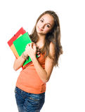 Beautiful relaxed young student girl. Royalty Free Stock Photo