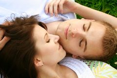 Beautiful relaxing couple Stock Images