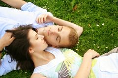 Beautiful relaxing couple Royalty Free Stock Photos