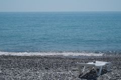 The sea and the beach in Sochi. Beautiful relief of a shallow river in Sochi. Insanely beautiful landscapes of mountains and water royalty free stock image