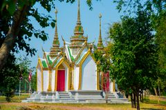 Beautiful religious building is white with gilding. Ayutthaya Thailand. Royalty Free Stock Images