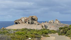 The beautiful Remarkable Rocks against the blue sky in the Flinders Chase National Park, Kangaroo Island, Southern Australia royalty free stock photography
