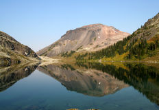 Beautiful and Remote Alpine Lake in BC. Ring Lake and Ring Mountain. Callaghan Valley. British Columbia Stock Photos