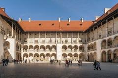 Beautiful renaissance courtyard of Wawel Castle, Krakow, Poland royalty free stock photos