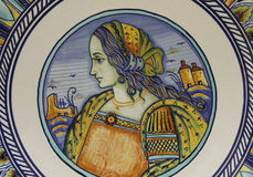 Beautiful Renaissance Woman on an Italian Plate Royalty Free Stock Image