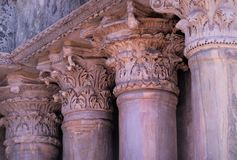 Beautiful reneissance Italian columns in Corinthian order in Venice - ornamental details on capitals stock photography