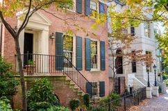Beautiful Renovated Houses on a Sunny Autumn Day stock photos