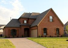Beautiful Residential New Construction Home for Sale. A Very nice Residential Home on the housing market in a suburban area outside of Memphis, Tennessee stock photography