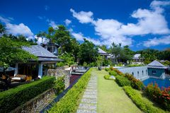 Beautiful resort hotel by the coast Royalty Free Stock Images