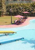 Beautiful resort swimming pool with clean water Stock Images