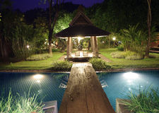 Resort villa pool at night Stock Image
