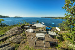 Beautiful rest place on Swedish sea cliff Royalty Free Stock Photo