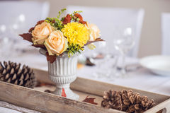Beautiful restaurant interior table decoration for wedding or event. Flower Wedding Table Decoration/ Autumn colors. Stock Photo