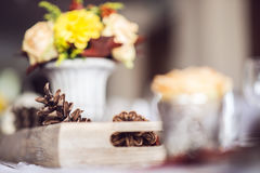 Beautiful restaurant interior table decoration for wedding or event. Flower Wedding Table Decoration/ Autumn colors. Stock Photos