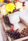 Beautiful restaurant interior table decoration for wedding or event. Flower Wedding Table Decoration/ Autumn colors. Royalty Free Stock Photography