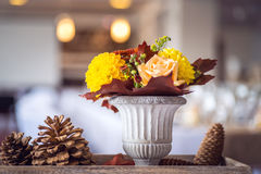 Beautiful restaurant interior table decoration for wedding or event. Flower Wedding Table Decoration/ Autumn colors. Stock Image