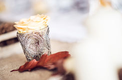 Beautiful restaurant interior table decoration for wedding or event. Flower Wedding Table Decoration/ Autumn colors. Royalty Free Stock Image