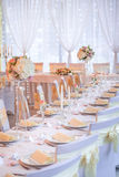 Beautiful restaurant interior table decoration for wedding or event. Flower Wedding Table Decoration/ ivory concept Royalty Free Stock Images