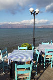 Beautiful restaurant near the sea in Crete,  Royalty Free Stock Photos