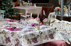 Beautiful restaurant table in Provence Royalty Free Stock Image