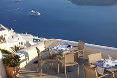 Beautiful restaurant terrace with sea view Royalty Free Stock Images