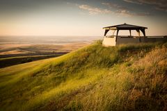 Oregon Scenic Outlook at Sunset. Beautiful resting spot at the top of a winding road. Gazebo looking out over endless land royalty free stock images