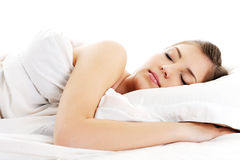 Beautiful Resting Woman Cover White Blanket Stock Photos