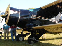 Beautiful restored Beechcraft Be17 Staggerwing in the morning light. Royalty Free Stock Photo