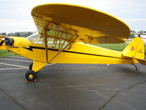 Beautiful restored classic Piper J3 Cub. The photo of this beautiful restored classic Piper J3 Cub was taken at the Marion Municipal Airport in Marion, Indiana Stock Photo