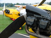 Beautiful restored classic Piper J3 Cub. The photo of this beautiful restored classic Piper J3 Cub was taken at the Marion Municipal Airport in Marion, Indiana Stock Photography
