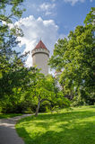 Beautiful restored white castle with red tiles and blue sky in Czech Republic Royalty Free Stock Images