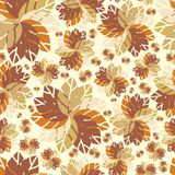 Beautiful retro Autumn pattern. Bright leaves. Foliage for greeting cards. Retro Stock Photography
