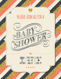 Beautiful retro baby shower card template with golden glittering Stock Photo