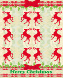 Beautiful retro background with reindeers Stock Photo
