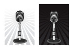 Beautiful Retro Black Vector Microphone Royalty Free Stock Photos