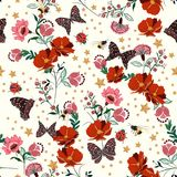 Beautiful retro blooming flowers with insect,bees,butterfly,lady. Bug,with vintage stars seamless pattern vector repeat for fashion ,fabric and all prints on vector illustration