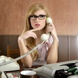 Beautiful retro businesswoman vintage secretary Royalty Free Stock Photos