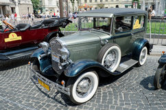 Beautiful retro cars on display outdoors in Lvov Stock Image