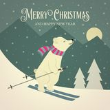 Beautiful retro Christmas card with polar bear stock illustration