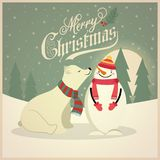 Beautiful retro Christmas card with polar bear and snowman vector illustration