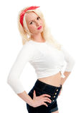 Beautiful retro female in denim shorts casual Stock Image