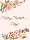 Beautiful retro floral card for Valentines Day.  Royalty Free Stock Photo
