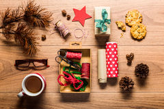 Beautiful retro gift wrapping, desk view from above Stock Images