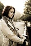Beautiful retro girl in cloak. Near bridge Photo 3 Royalty Free Stock Photo