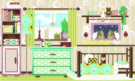 Beautiful retro girlsroom in early color Royalty Free Stock Photography