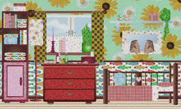 Beautiful retro girlsroom in early color Royalty Free Stock Image