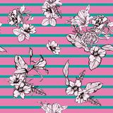 Beautiful retro hand drawn modern flowers seamless pattern vector on stripe design for fashion ,fabric ,wallpaper, and all prints royalty free illustration