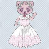 Beautiful retro kitty bride in white lace dress with a wreath of roses. vector illustration