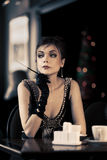 Beautiful Retro Lady In Cafe Royalty Free Stock Image