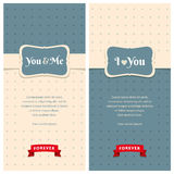 Beautiful retro love greeting cards. Nice greeting cards with stripes and dots background for wedding invitation, birthday or other holiday. Simple template with Stock Image